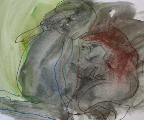 les amants  |   cm 100x70   |  acrylic and oil pastel on paper  |  2012